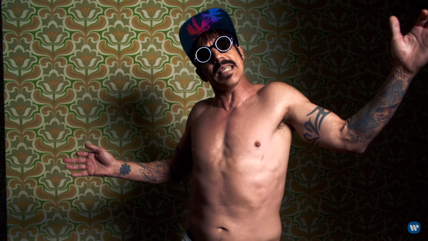 """Screen grab from the Red Hot Chili Peppers' music video for """"Dark Necessities"""" via YouTube.com"""